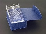 Lord's Prayer Glass Paperweight with Strobe Light Stand