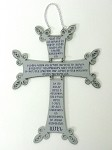 Silver Styrene Wall Cross with Lord's Prayer