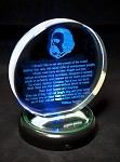 William Saroyan Crystal Paperweight with Strobe Light Stand