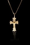 3/4 Inch Embellished Gold Cross
